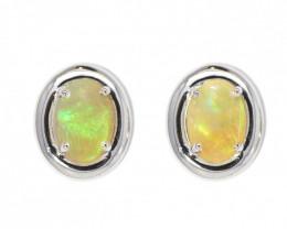 Coober Pedy Opal 925 SILVER Rhodium Plated PIERCE EARRINGS [CE08]
