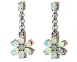 Coober Pedy Opal 925 SILVER Rhodium Plated PIERCE EARRINGS [CE09]