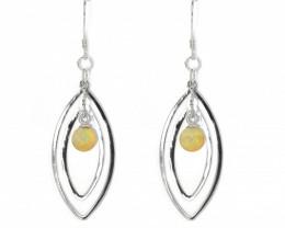 Coober Pedy Opal 925 SILVER Rhodium Plated PIERCE EARRINGS [CE10]