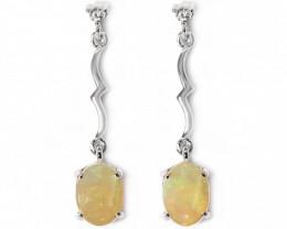 Coober Pedy Opal 925 SILVER Rhodium Plated PIERCE EARRINGS [CE11]