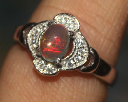Ethiopian Welo Fire Opal Silver Ring Size US (6) 0133