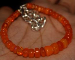 29 Crts Natural Welo Smoked (Orange)Opal Beads Bracelet 885