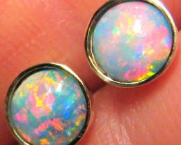 Australian Solid Opal Stud Earrings Jewelry Gem Gift Idea 14kt Gold 5.4ct B