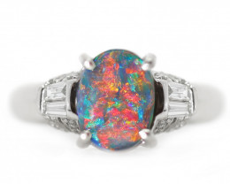 PLATINUM BLACK OPAL RING GOLD AND DIAMONDS [CR47]