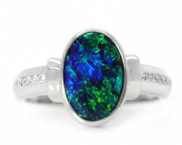 18K GOLD BLACK OPAL RING GOLD AND DIAMONDS [CR46]