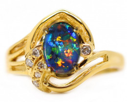 18K GOLD BLACK OPAL RING GOLD AND DIAMONDS [CR48]