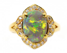 18K  BLACK CRYSTAL OPAL RING GOLD AND DIAMONDS [CR49]