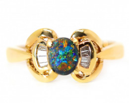 18K GOLD BLACK OPAL RING GOLD AND DIAMONDS [CR51]