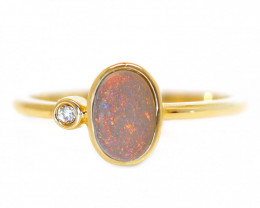 14K GOLD SEMI BLACK OPAL RING GOLD AND DIAMONDS [CR32]