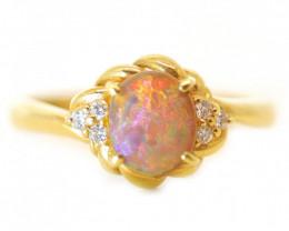 18K GOLD SEMI BLACK OPAL RING GOLD AND DIAMONDS [CR52]