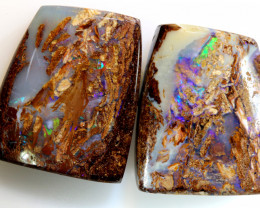 28.10-CTS BOULDER OPAL  POLISHED CUT STONE  PAIR TBO-7605