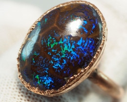 25.20CT OPAL RING WITH ELECTRIC FORM COPPER  AA436