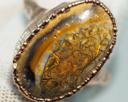 25.55CT OPAL RING WITH ELECTRIC FORM COPPER  AA450
