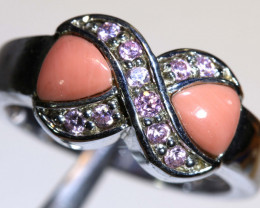 20 CTS PINK OPAL SILVER RING OF-2618