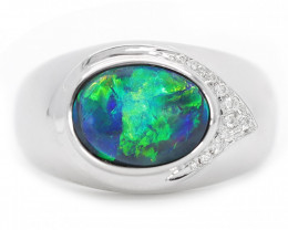 18K GOLD BLACK OPAL RING GOLD AND DIAMONDS [CR54]