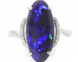 14K GOLD BLACK OPAL RING GOLD AND DIAMONDS [CR56]