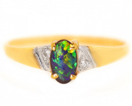 18K GOLD BLACK OPAL RING GOLD AND DIAMONDS [CR57]