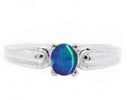 18K GOLD BLACK OPAL RING GOLD AND DIAMONDS [CR58]