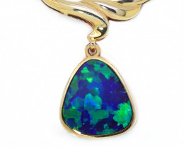 925 ST/ SILVER GOLD PLATED OPAL DOUBLET PENDANT  [CP99]