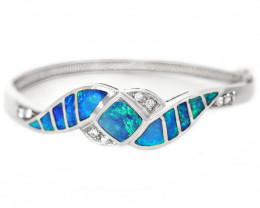 INLAY OPAL 925 Silver Rhodium Plated BRACELET   [CB02]