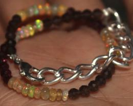 15 Crts Natural Welo Opal Smokey & Garnet Beads Bracelet 657