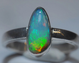 6sz Blue Blazing Silver .925 Sterling Welo Solid Opal Ring
