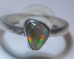 7.2sz Dark Blazing Silver .925 Sterling Welo Solid Opal Ring