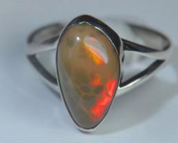 5.2sz Blazing Silver .925 Sterling Welo Solid Opal Ring