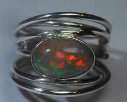 5.2sz Dark Silver Sterling .925 Welo Solid Opal Ring