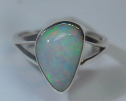6sz Blazing Silver .925 Sterling Welo Solid Opal Ring