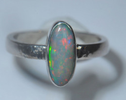 6.2sz Blazing Silver .925 Sterling Welo Solid Opal Ring
