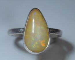 7.2sz Blazing Silver .925 Sterling Welo Solid Opal Ring