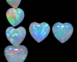 3.88 CTS HEART SHAPED NATURAL FIRE OPAL  SET 6 [SEDA2654]