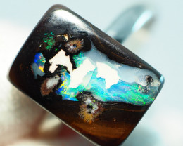 76.85CT  SILVER ADJUSTABLE BOULDER OPAL RING AA492