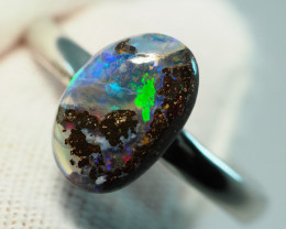 9.55CT  SILVER ADJUSTABLE BOULDER OPAL RING AA510