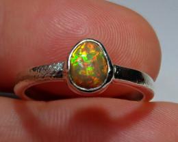 7sz .925 Sterling Blazing Welo Solid Opal Ring