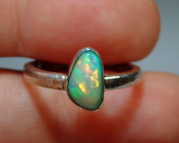 6.7sz .925 Sterling Blazing Welo Solid Opal Ring