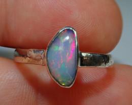 7.5sz .925 Sterling Blazing Welo Solid Opal Ring