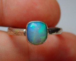 7.7sz .925 Sterling Blue Welo Solid Opal Ring