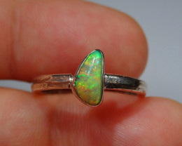 7.2sz .925 Sterling Blazing Welo Solid Opal Ring