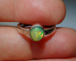 7sz .925 Sterling Blazing Welo Solid Opal Ring