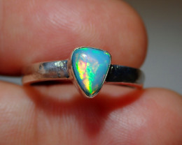 7.2sz .925 Sterling Sparkly Blue Welo Solid Opal Ring