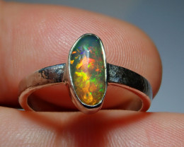 .925 Sterling Bright Welo Solid Opal Ring