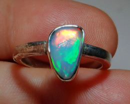 .925 Sterling Bright Blazing Welo Solid Opal Ring