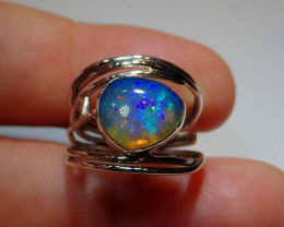 .925 Sterling Blue Blazing Welo Solid Opal Ring