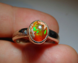 9sz .925 Sterling Mexican Matrix Cantera Solid Opal Ring