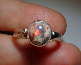 9.7sz .925 Sterling Mexican Matrix Cantera Solid Opal Ring