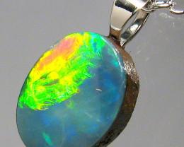 Australian Opal Doublet Pendant  Sterling Silver Gift 2.45ct