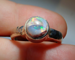 .925 Sterling Mexican Matrix Cantera Solid Opal Ring