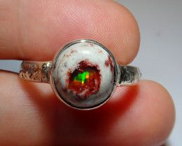 .925 Blazing Welo Solid Opal Ring